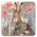 Podložka Hare and poppies 10*10 cm