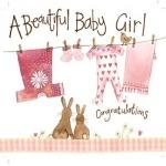 Přání k narození dítěte - Pink washing line