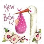 Přání k narození dítěte - Pink stork