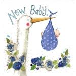 Přání k narození dítěte - Blue stork